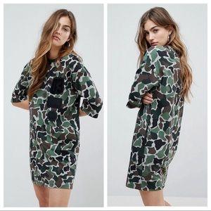 ADIDAS CAMO T-SHIRT DRESS W/POCKETS